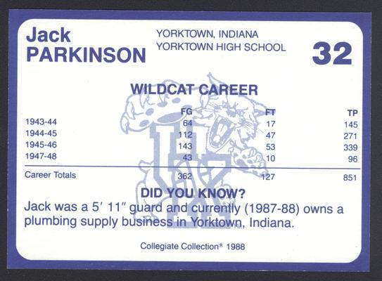 Kentucky's Finest #32: Jack Parkinson (1943-46; 1947-48), back