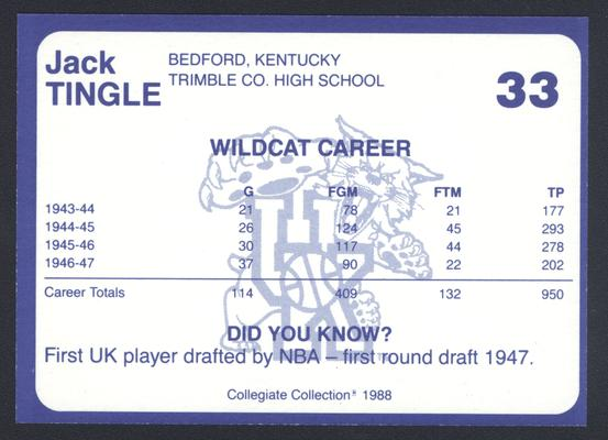 Kentucky's Finest #33: Jack Tingle (1943-47), back