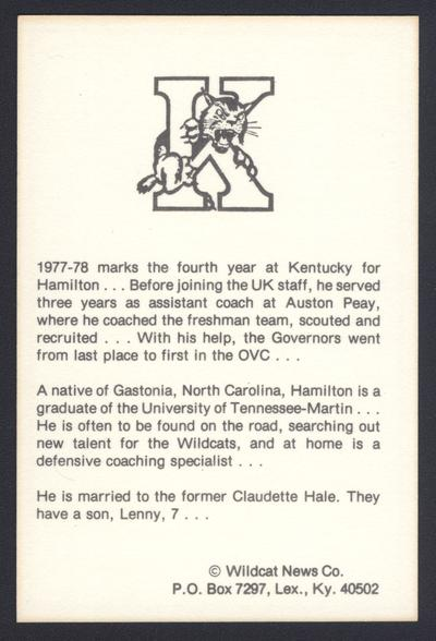 Cat Card #5: Leonard Hamilton, assistant coach, back