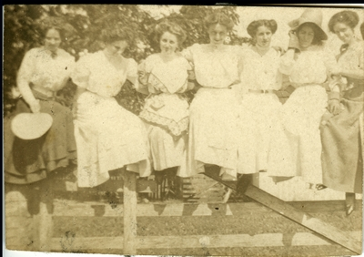 7 women sitting on a fence circa 1914