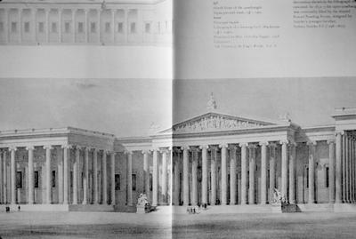 British Museum - Note on slide: Fa?ade / Lithography by F. Mackensie / J. Mordaunt Greek Revival