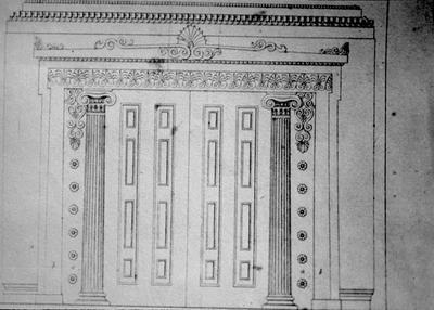 Sliding Door Design - Note on slide: Minard Lafever / Young Builder's General Instruction / Plate 22