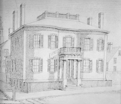 Restored Sketch of Philip M. Folger House - Note on slide: 58 - 60 Main Street. Drawing by B.Y.C.L