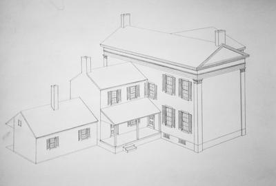 Rosehill (Holloway House) - Note on slide: Sketch from rear. William Holloway