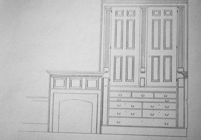 Hurricane Hall - Note on slide: Elevations of mantel and dressers in chamber over parlor
