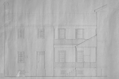 Liberty Hall - Note on slide: Rear ell. South elevation for restoration