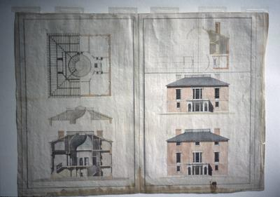 John Pope House - Note on slide: Plans and elevations. Bill Scott slide. Latrobe's drawings, Library of Congress