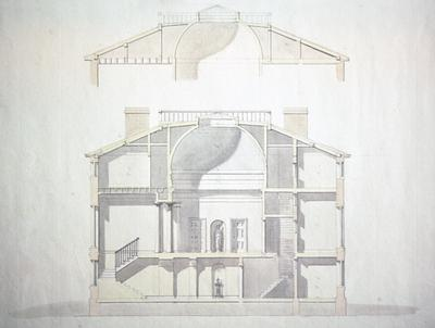 John Pope House - Note on slide: Section. Latrobe's drawing. Library of Congress. Bill Scott Photo