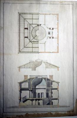John Pope House - Note on slide: Third floor and section. Latrobe's drawing. Library of Congress. Bill Scott Photo