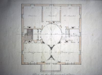 John Pope House - Note on slide: Second floor plan. Latrobe's drawing. Library of Congress. Bill Scott Photo