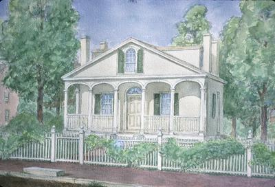 William Warren House - Note on slide: Watercolor by Clay Lancaster