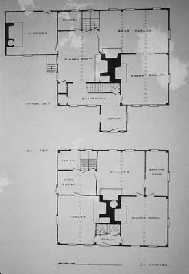 Peter Folgers House - Note on slide: Plans before and after. 51 Centre St. Plans and elevations