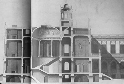 New York City Hall - Note on slide: Joseph Francois Mangin. Section drawing. New York Historical Society / The Architect's Eye