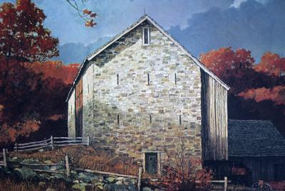Pennsylvania Bank Barn - Note on slide: Painting by Eric Sloane from An Age of Barns