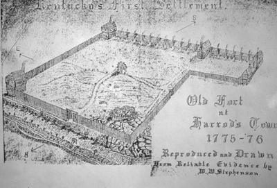 W.W. Stephensen's Perspective of Fort Harrod - Note on slide: G.M. Chinn's Dictionary