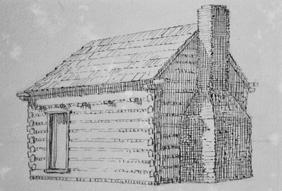 Patterson Cabin - Note on slide: Eaves beam. Butting pole. Drawing by Clay Lancaster
