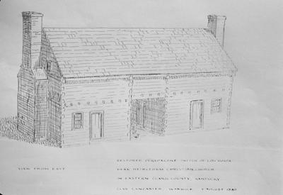 Dogtrot Log House - Note on slide: Drawing by Clay Lancaster