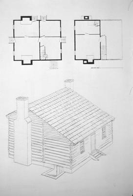 Lean-to-Log House - Note on slide: Coopers Run. Restored perspective and floor plan