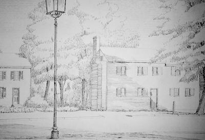 Adam Rankin House - Note on slide: High Street. A. Rankin 1784-97. Nicholas Bobson 1786. Drawing by Clay Lancaster