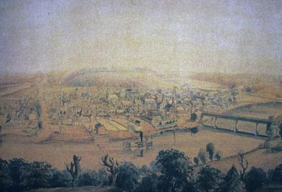 View of Frankfort - Note on slide: S.I.M. Major, II. Watercolor. Kramer / Capitol on the Kentucky, Color plate IX