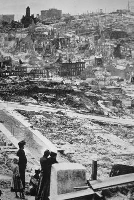 Telegraph Hill after Earthquake - Note on slide: National Geographic / Exploring our living planet