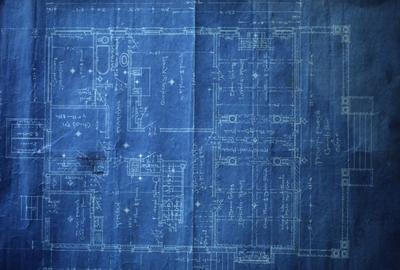 531 Russell Avenue (J.W. Lancaster II House) - Note on slide: First floor plan. Blueprint
