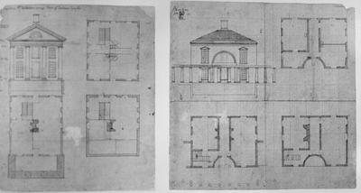 University of Virginia - Note on slide: Jefferson's sketch for pavilion II and IX. Ionian of Fortuna Virilis