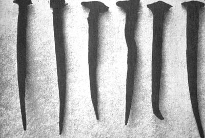 Iron Nails - Note on slide: View of Six Nails H.C. Mercer / The Dating of our Houses