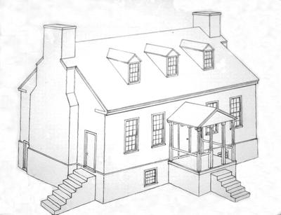 John Scott House Restored Sketch - Note on slide: Perspective drawing
