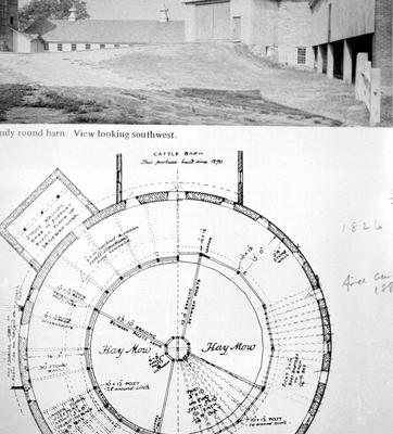 Round barn - Note on slide: Exterior view and plan. Architecture / compiled by Herbert Schiffer. West Chester, Pa., : Schiffer Pub., 1979. p. 101