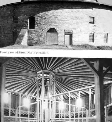 Round barn - Note on slide: Exterior and interior view. Shaker Architecture / compiled by Herbert Schiffer. West Chester, Pa., : Schiffer Pub., 1979. p. 100