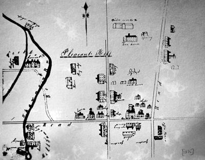 Pleasant Hill sketch - Note on slide: Overhead view of buildings in Pleasant Hill. Isaac N. Young