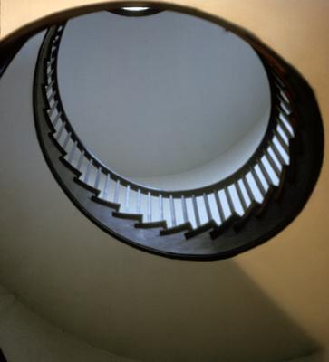 Shakertown Trustees' office - Note on slide: Interior view up spiral staircase
