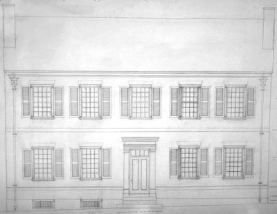 7000 house (Mary Todd Lincoln house) - Note on slide: Front elevation. L.L. Restoration drawing