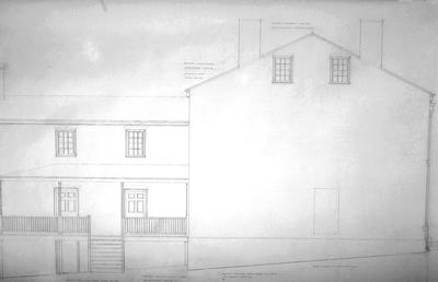 7000 house (Mary Todd Lincoln house) - Note on slide: East elevation. L.L. Restoration drawing