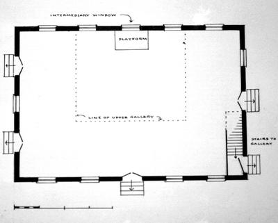 Big Spring Meeting house (Big Spring Baptist church) - Note on slide: First Floor plan