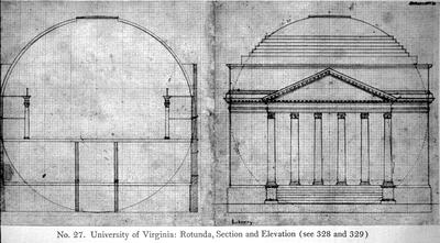 Rotunda at University of Virginia - Note on slide: Section and elevation drawings