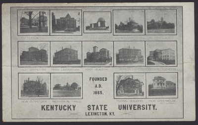 Kentucky State University Campus View with Patterson Hall, Science Hall, Observatory, Chemistry Building, Alumni Hall, Old Dormitory, Mining Laboratory, Main Building, Agriculture, Experiment Station, New Dormitory, Mechanical Hall, Normal Building, New Greenhouse