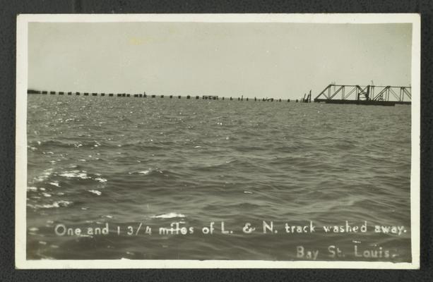 Louisvilee & Nashville Railroad track damage from hurricane