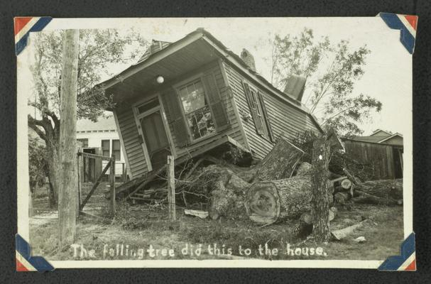 Damaged house after hurricane, The falling tree did this to the house