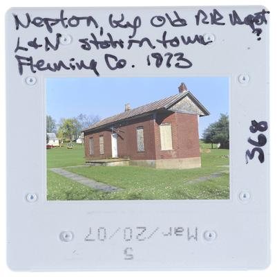 Nepton, Kentucky, Old railroad depot. Louisville and Nashville station town, Fleming County 1873