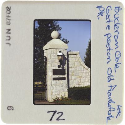 Buckram Oak Gate post on Old Frankfort Pike