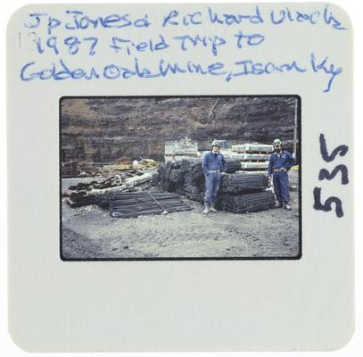 J. P. Jones and Richard Ulack - 1987 field trip to Golden Oak Mine, Isom, Kentucky