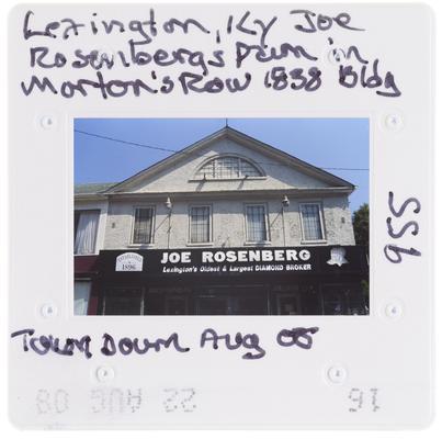 Lexington, Kentucky - Joe Rosenbergs Pawn in Morton's Row 1838, Building torn down