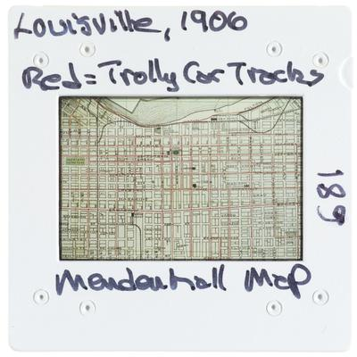 Louisville 1906 Mendenhall map - red equals trolley car track