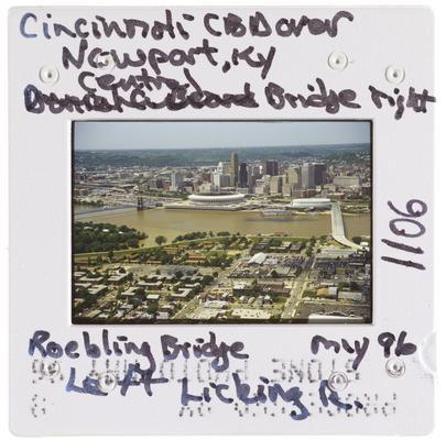 Cincinnati CBD over Newport, Kentucky Central Bridge right Roebling Bridge - Licking River Mouth