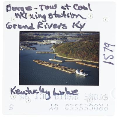Barge - Tow at Coal Mixing Station Grand Rivers, Kentucky - Kentucky Lake