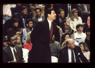 Rick Pitino coaching; Tubby Smith and Bill Keightley on bench; UK vs. Ole Miss