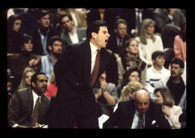 Rick Pitino coaching, Tubby Smith and Bill Keightley on bench; UK vs. Ole Miss