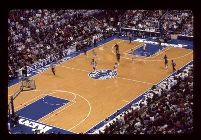 Looking down at Rupp Arena court during game